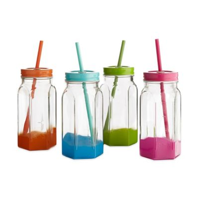 Style Setter Soho Clear Jar with Colored Lid and Straw (Set of 4)