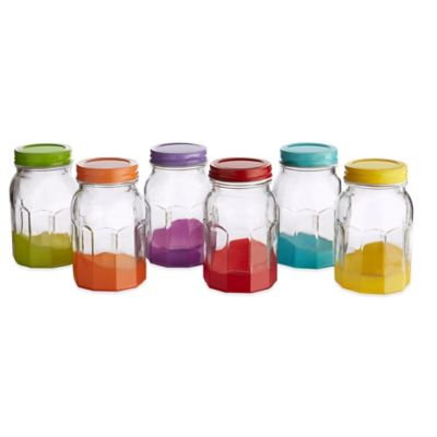 Style Setter Soho Colored Glass Jar with Lid (Set of 6)