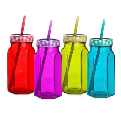 Style Setter Soho Gingham Colored Glass Jar with Lid and Straw (Set of 4)