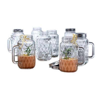 Style Setter Soho Quilted Mason Jar with Handle (Set of 8)