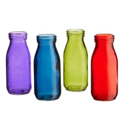 Style Setter Soho Gems Colored Glass Bottle Set (Set of 4)