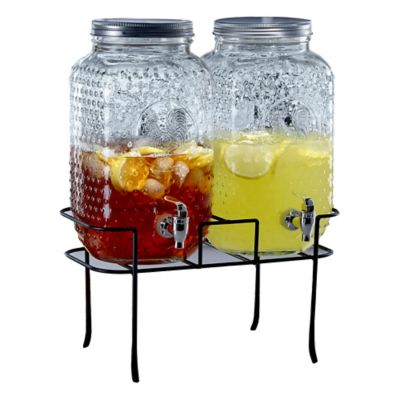 Rooster 3-Piece Beverage Dispenser with Stand in Clear