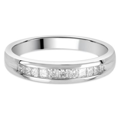 14K White Gold .25 cttw Diamond Princess Cut Channel-Set Size 5.5 Ladies' Wedding Band