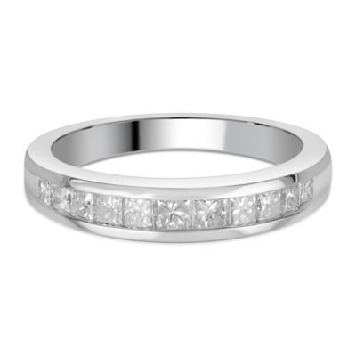 14K White Gold .75 cttw Diamond Princess Cut Channel-Set Size 7.5 Ladies' Wedding Band