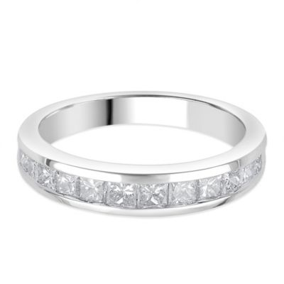 14K White Gold 1.0 cttw Diamond Princess Cut Channel-Set Size 6.5 Ladies' Wedding Band
