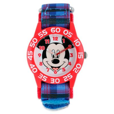 Disney® Mickey Mouse Time Teacher Children's 32mm Watch with Blue/Red Plaid Strap