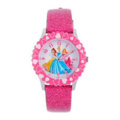 Disney® 3 Princesses Children's 32mm Watch in Stainless Steel with Pink Glitter Band