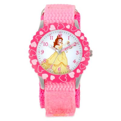 Disney® Belle Children's 32mm Watch in Stainless Steel with Pink Strap