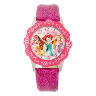Disney® Princesses Children's 32mm Glitz Watch in Stainless Steel with Pink Glitter Band