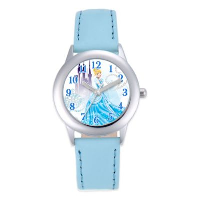 Disney® Cinderella Children's 32mm Watch in Stainless Steel with Light Blue Strap
