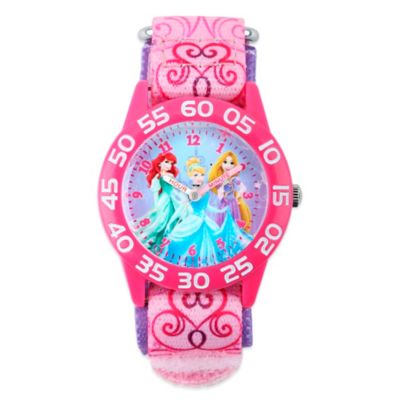 Disney® 3 Princesses Children's 32mm Bright-Pink Watch with Pink Strap