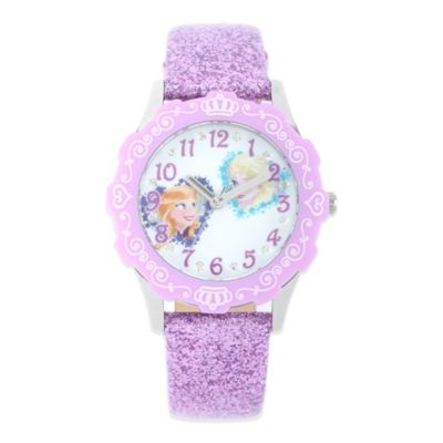 Disney® Frozen Children's 32mm Anna and Elsa Watch in Stainless Steel with Purple Glitter Strap