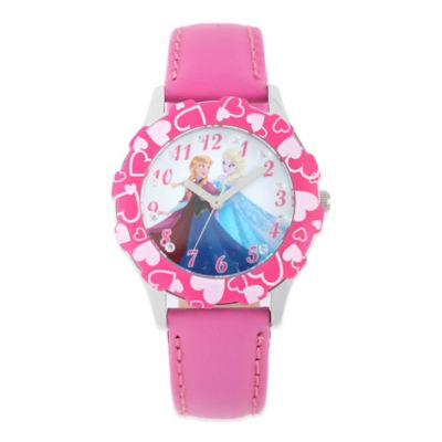 "Disney® ""Frozen"" Anna and Elsa Children's 32mm Glitz Watch in Stainless Steel with Pink Strap"