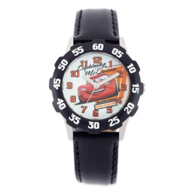 "Disney® ""Cars"" ""Lightning McQueen"" Children's 32mm Watch in Stainless Steel with Black Strap"