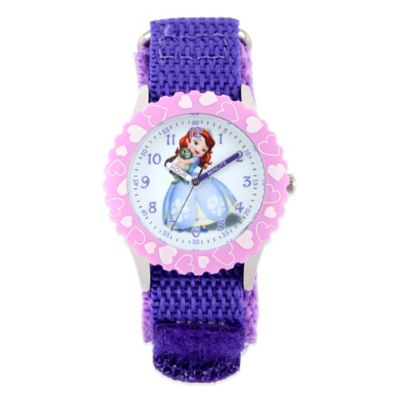 Disney® Sofia and Clover Children's 32mm Watch in Stainless Steel with Purple Strap