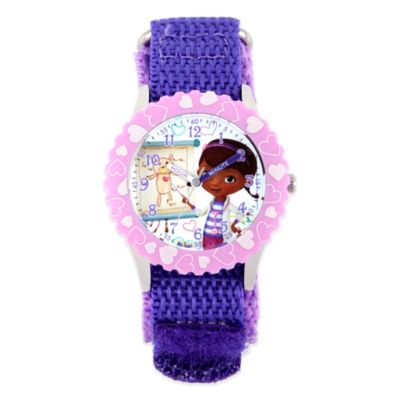 Disney® Doc McStuffins Children's 32mm Light-Pink Watch in Stainless Steel with Purple Strap