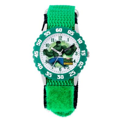 Marvel Hulk Children's 32mm Stainless Steel Watch with Bright-Green Strap