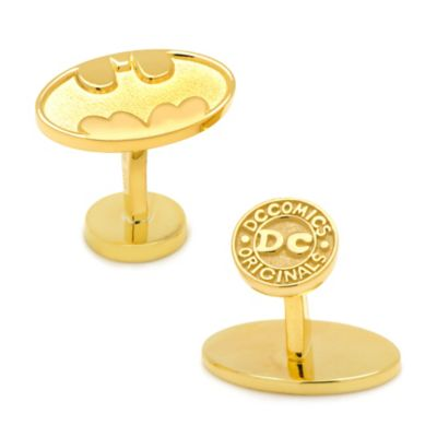 DC Comics™ 18K Gold-Plated Oval Recessed Batman Logo Cufflinks