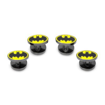 DC Comics™ Gunmetal-Plated Batman Logo Tuxedo Studs (Set of 4)