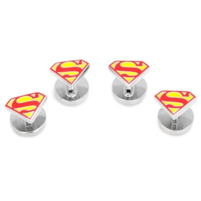 DC Comics™ Silver-Plated Superman Shield Logo Tuxedo Studs (Set of 4)