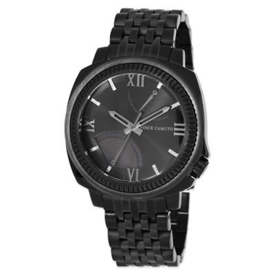 Vince Camuto® Veteran Men's 43.5mm Black Woven Link Watch in Black Stainless Steel