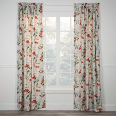 Botanical Floral Rod Pocket 84-Inch Window Curtain Panel