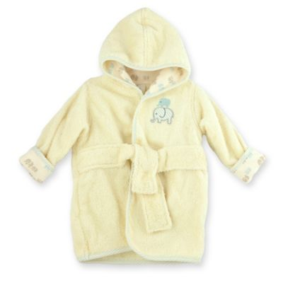 Just Bath™ by Just Born® Size 0-9M Elephant Organic Cotton Robe in Cream/Blue