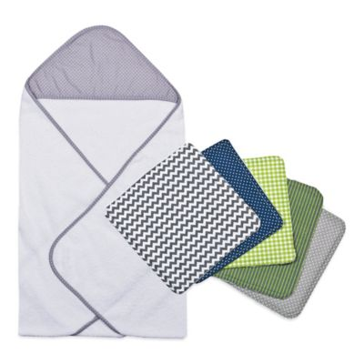 Trend Lab® 6-Piece Perfectly Preppy Hooded Towel and Washcloth Set in Grey Dot