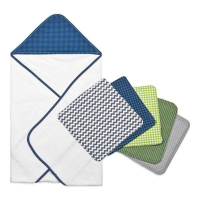 Trend Lab® 6-Piece Perfectly Preppy Hooded Towel and Washcloth Set in Navy Dot