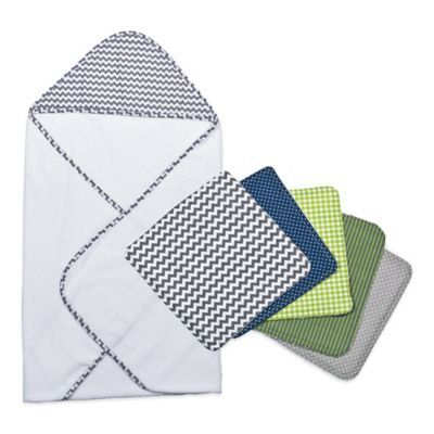 Trend Lab® 6-Piece Perfectly Preppy Hooded Towel and Washcloth Set in Navy Chevron