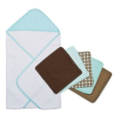 Trend Lab® 6-Piece Cocoa Mint Hooded Towel and Washcloth Set in Mint Dot