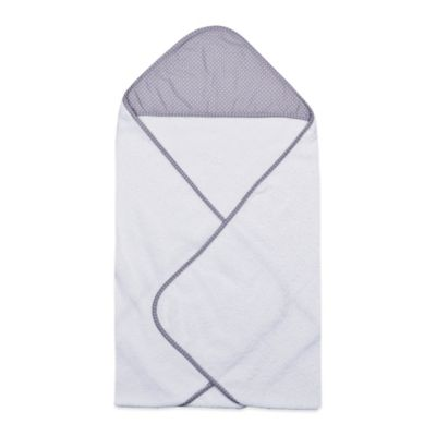 Trend Lab® Perfectly Preppy Hooded Towel in White/Grey Dot