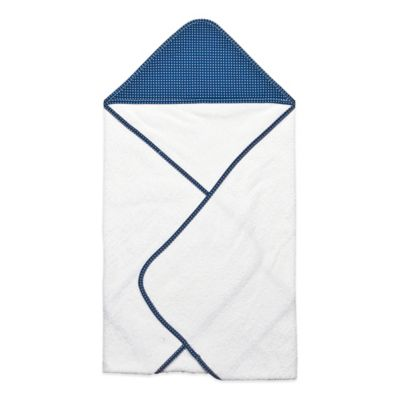 Trend Lab® Perfectly Preppy Hooded Towel in White/Navy Dot