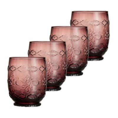 Harper Double Old Fashioned Glass in Purple (Set of 4)