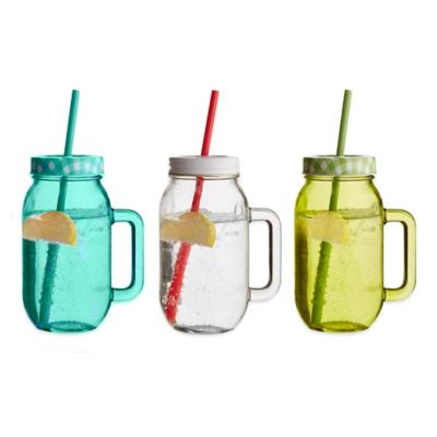 Soho Drinking Jars With Lid and Straw in Red (Set of 2)