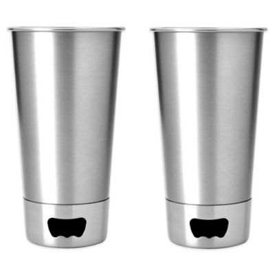 ASOBU Metal Bottle-Opening Beer Cups in Silver (Set of 2)