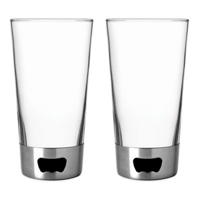 ASOBU Pint Glasses with Dual Bottom Openers in Silver (Set of 2)