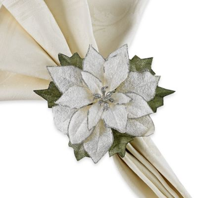 White Poinsettia Napkin Rings in White (Set of 4)