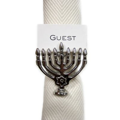 Menorah Napkin Rings in Silver (Set of 4)