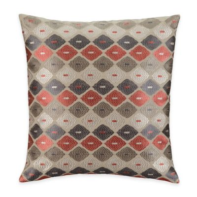 Aztec Stripe Twill Square Throw Pillow in Rust