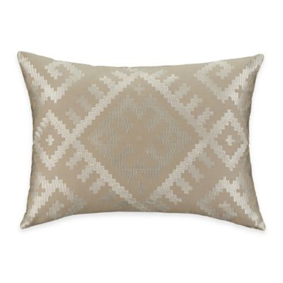 Aztec Stripe Oblong Throw Pillow in Taupe