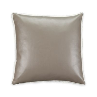 Aztec Stripe Pebbled Leather Square Throw Pillow in Taupe