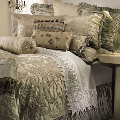 Austin Horn Collection Cascata Queen Duvet Cover in Seamist