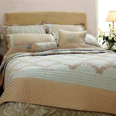 Quint Damask King Coverlet Set in Sage