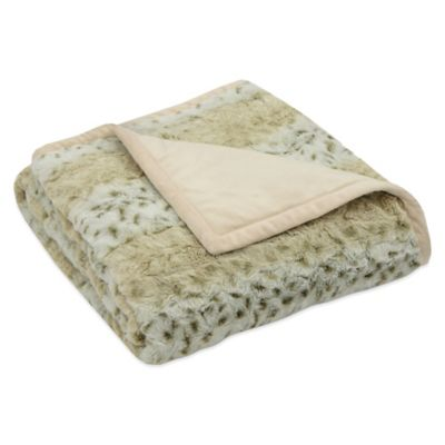 Arctic Leopard Faux-Fur Reversible Throw in Tan