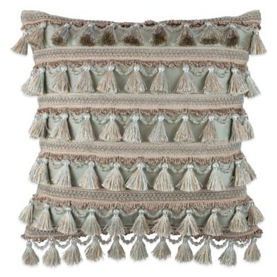 Austin Horn Collection Cascata Tassel Square Throw Pillow in Seamist