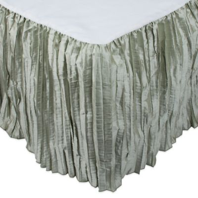 Austin Horn Collection Cascata King Bed Skirt in Seamist