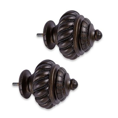 Cambria® Elite Beaded Twist Finials in Matte Brown (Set of 2)