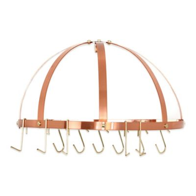 Old Dutch International 12-Hook Half-Round Pot Rack in Satin Copper