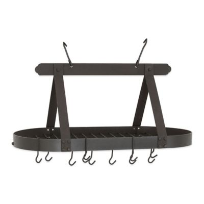 Old Dutch International 16-Hook Oval Hanging Pot Rack in Graphite